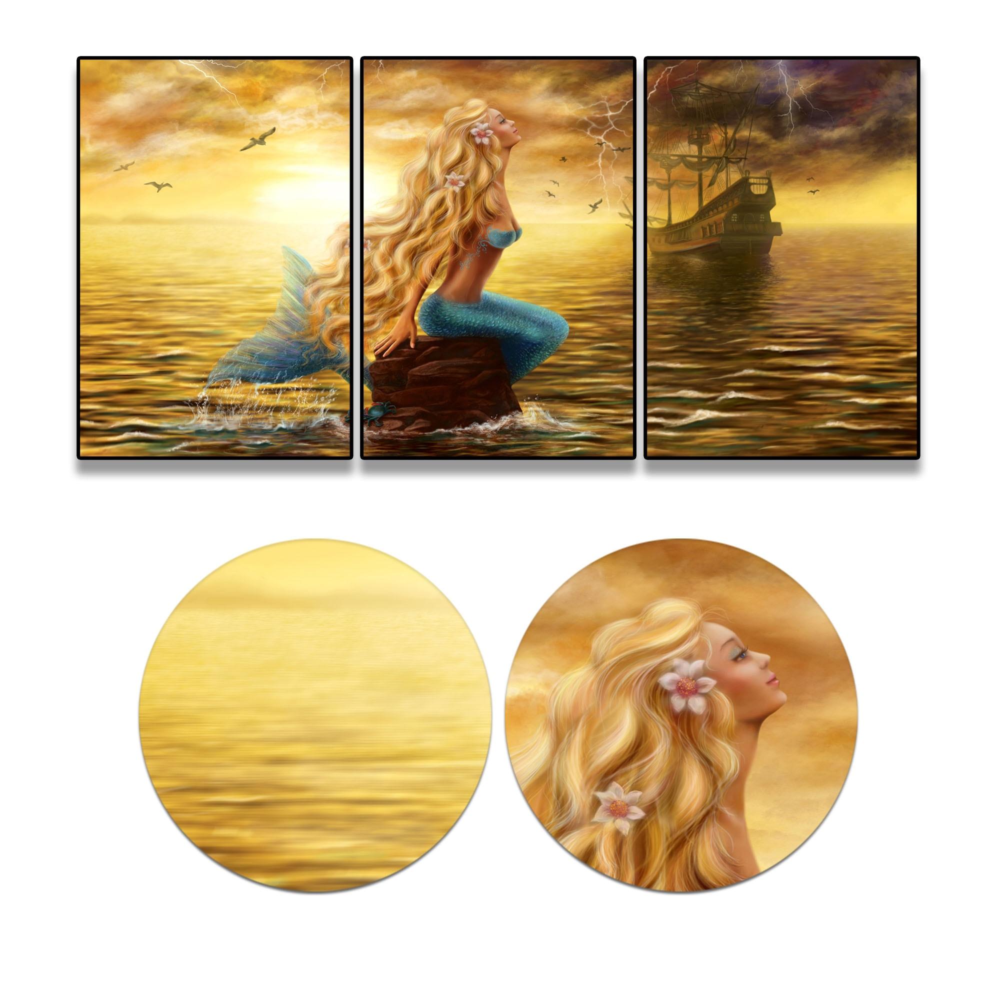 3 Pcs Retrp Mermaid Boat Ship Bird Canvas Oil Paintings Wall Art ...
