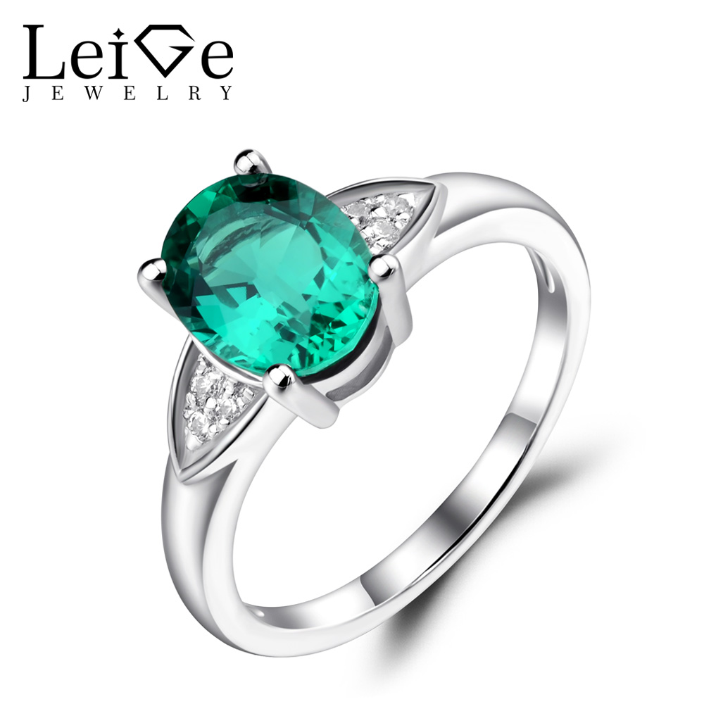 Leige Jewelry Oval Shape Engagement Rings for Women Green Emerald Wedding Ring Sterling Silver 925 Jewelry Oval Gemstone
