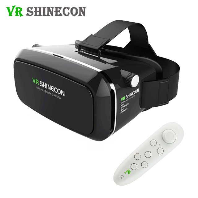 VR Shinecon Pro Virtual Reality 3D Glasses Google Cardboard Headset Head Mount for Smartphone 4-6' + Bluetooth Remote Controller