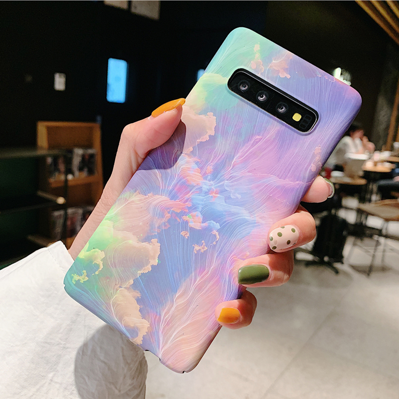 3D Relief Matte Case for Samsung <font><b>Galaxy</b></font> <font><b>S10</b></font> Plus S10e S9 S8 Note 10 Plus 5G 9 8 S7 edge + Case Stars Ink Painting PC Cover Funda image