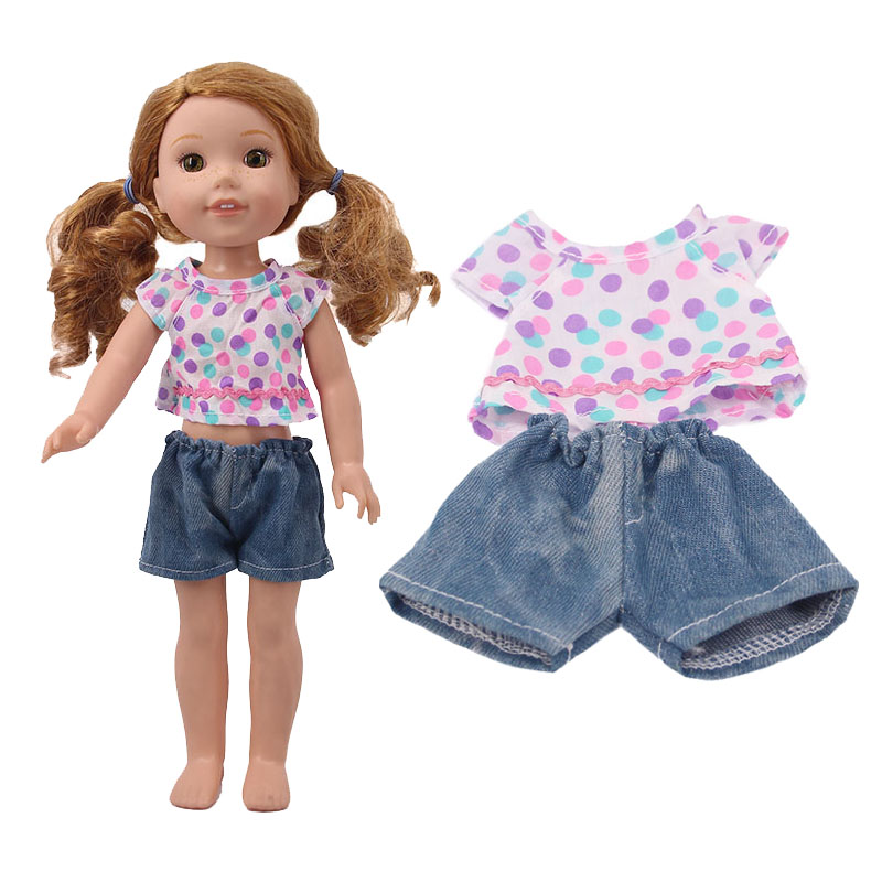 Cute Little Fresh Multicolored Polka Dot T-shirt + Shorts Two-piece Set For A 14.5-inch American Doll