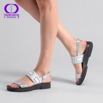 AIMEIGAO Plus Size Summer Women Sandals Flat Casual Shoes Fashion Comfortable Roman Sandals Peep-toe Flat Women Shoes римские сандали