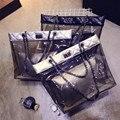 2016 moda verão xadrez ombro saco saco de praia Famosa marca de Alta qualidade composto de PVC transparente saco Saco Do Mensageiro Da Cadeia