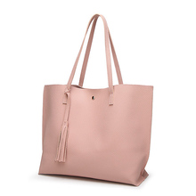 Simple Fashion Ladies Shoulder Bag Tassel Design for Women Handbag PU Leather Finish Go Shipping Tote Bag Large Capacity JY01
