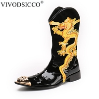 VIVODSICCO New Genuine Patent Leather Men Mid Calf Boot Punk Military Combat Men's Leather Desert Biker Motorcycle Rock Boots