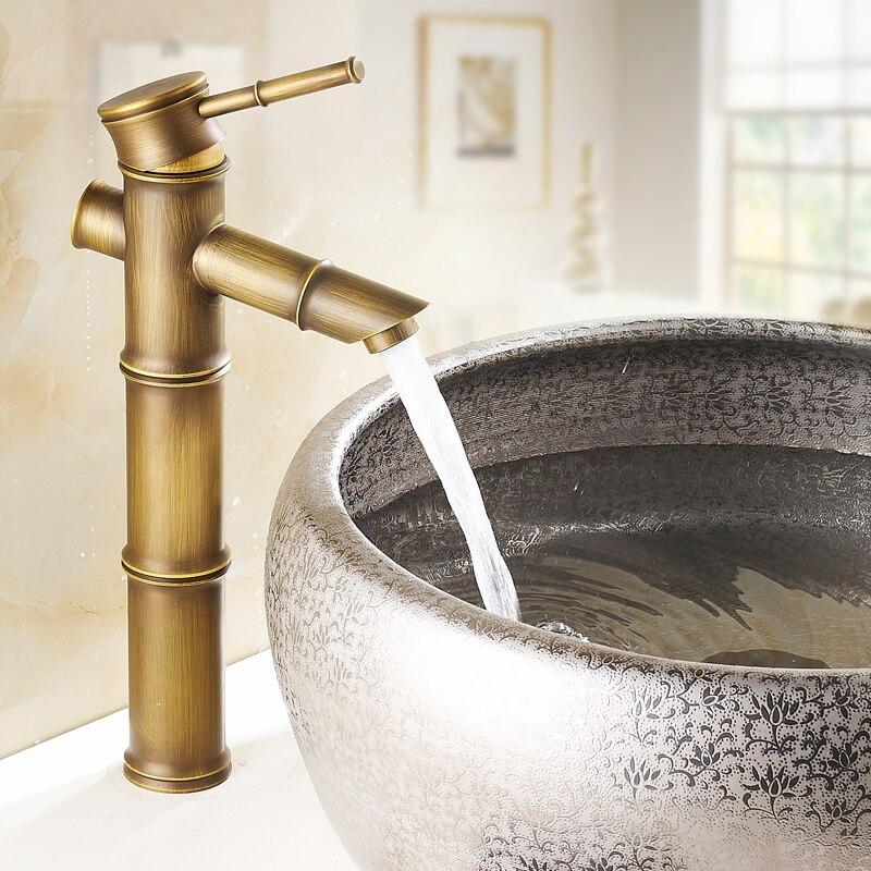 Bambou vintage bain bassin robinet salle de bain bassin mitigeur avec eau chaude et froide mitigeur robinet d'eau robinet accessoires