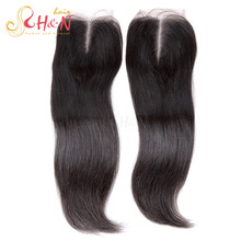 Brazilian Kinky Straight Lace Closure with Bleached Knots Free Middle Free Part Natural Black Human Virgin Hair Lace Top Closure