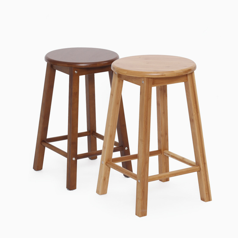 Modern Bamboo Furniture Bar Stool Natural Coffee Finish Height 60cm Indoor Home Bar Furniture