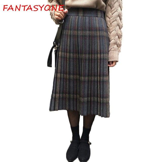 Женская клетчатая юбка S тартан шерстяные клетчатая юбка S килт Зимняя шерстяная одежда зонтик линии vintage клетчатая юбка плиссе шерсть клетчатой юбки