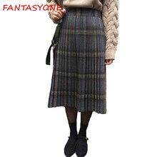 dcc1fb9731 חצאיות חצאיות צמר משובץ Tartan המשובץ של נשים חצאית מטריית צמר חורף חצאית  משובצת קפלים קו