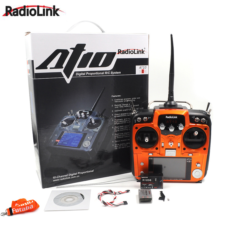 RadioLink AT10 II 2.4G 10CH RC Transmitter with R12DS Receiver PRM-01 Voltage Return Module for RC Airplane Helicopter Quad radiolink at10 2 4g 10ch transmitter with r10d receiver