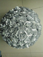 SPR silvery wedding kissing FLOWER ball 50cm wedding artificial silk flower ball plastic inner