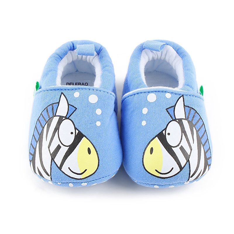 Delebao Warm Sky Blue Cotton Fabric Infant Toddlers Baby Boy And Girl Shoes Lovely Zebra Soft Sole Baby Shoes wholesale