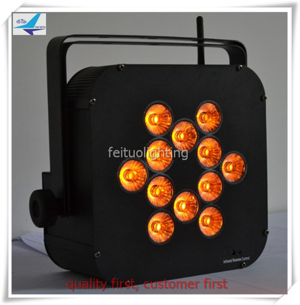 Free shipping (8lights with fly case) 12x18w 7IN1 battery led flat par light wedding lig ...