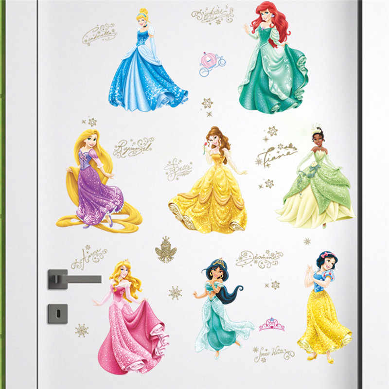 Lovely Dancing Princess Wall Stickers For Kids Room Children Bedroom Cup Bag Wall decals Girl's Birthday gift Poster Mural