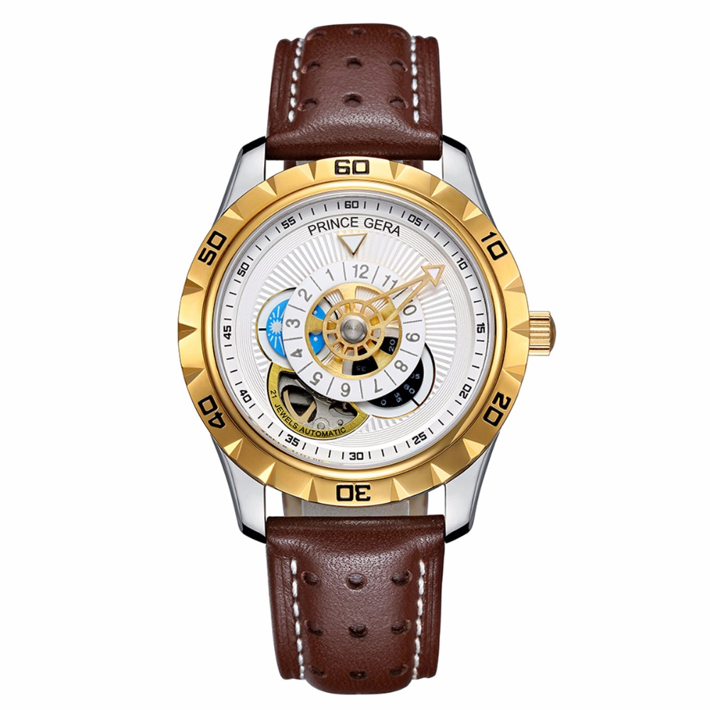 PRINCE GERA Men s Waterproof Fashion Automatic Watch Calfskin Leather Straps Tourbillon
