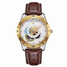 PRINCE GERA Men's Waterproof Fashion Automatic Watch Calfskin Leather Straps Tourbillon Unique Watch for Men