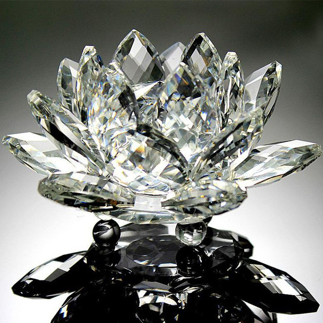 80mm Quartz Crystal Lotus Flower Crafts Glass Paperweight Fengshui Ornaments Figurines Home Wedding Party Decor Gifts Souvenir 6