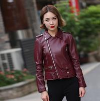 Oblique Zipper Sheepskin Coats Womens Motorcycle Genuine Leather Jacket Women Slim Short Coat Jaqueta De Couro