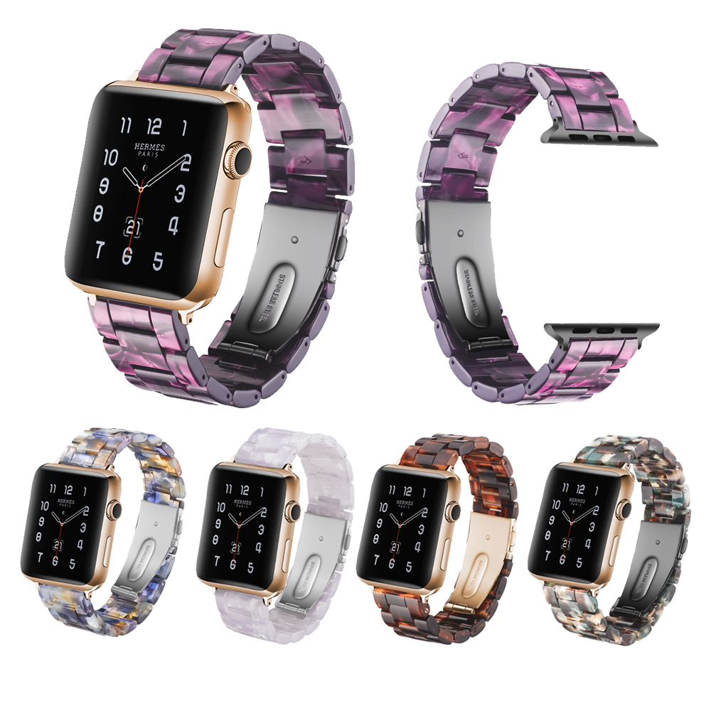 Bracelet for Apple Watch 3/ 2/ 1 38MM 42MM Bands Resin Watchband Strap for Iwatch Series Imitation Ceramic Apple Watch Case