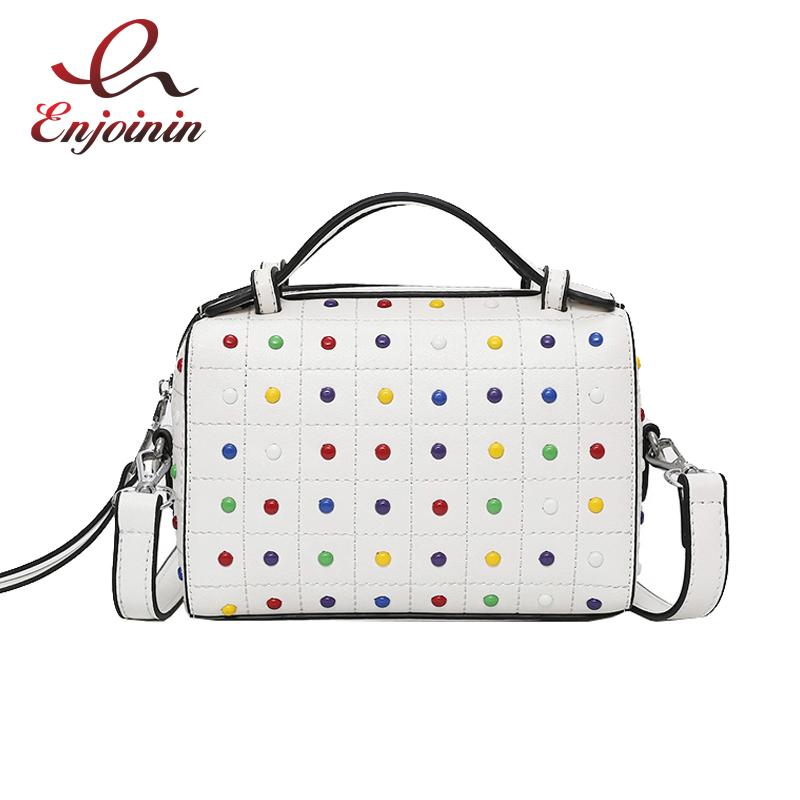Fashion design black & white color rivets Boston ladies handbag shoulder bag female crossbody mini messenger bag purse totesFashion design black & white color rivets Boston ladies handbag shoulder bag female crossbody mini messenger bag purse totes
