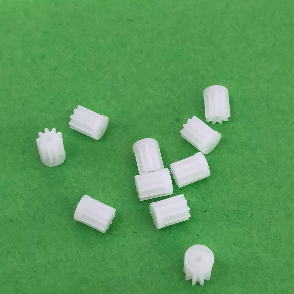 10pcs/lot  K021Y  91A Mini Plastic Motor Shaft Gear Sets 9 Tooth 1mm Hole Diameter DIY Helicopter Robot  High Quality On Sale