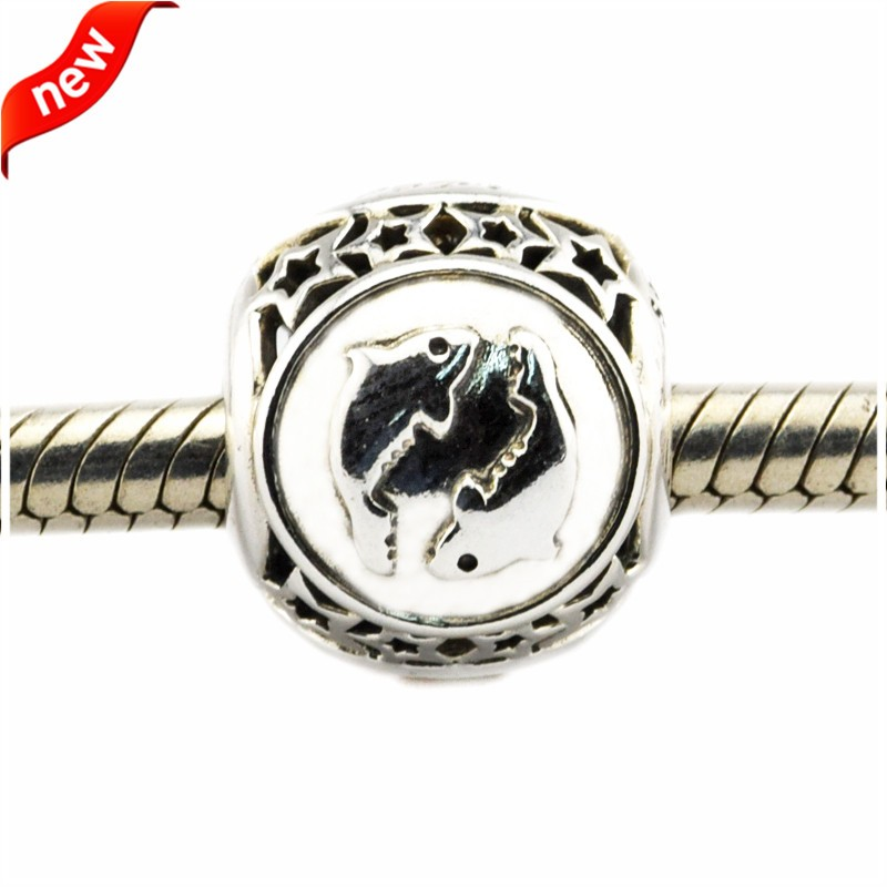 925 Silver Jewelry Beads DIY Fits Pandora Bracelets Charms Pisces Star Sign Silver Charm Beads for Jewelry Making Women Gift