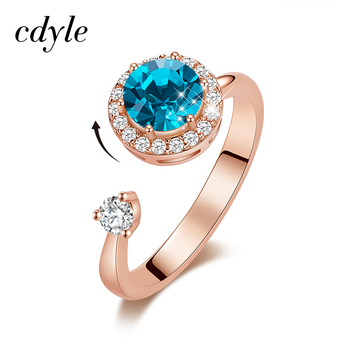 Cdyle Rose Gold Ring Embellished with Crystal from Swarovski Birthstone Jewellery Adjustable Size Rings for Female Birthday Gift