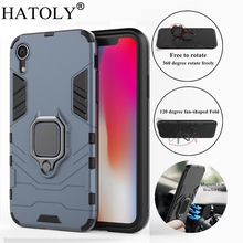 hot deal buy hatoly for apple iphone xr case cover magnetic suction ring bracket cases silicone rubber hard armor cover for iphone xr 2018