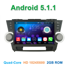 10.1 inch Quad core Android 5.1.1 Car DVD Player GPS for Toyota Highlander 2011 2012 2013 2014 with Radio BT WiFi Mirror-link