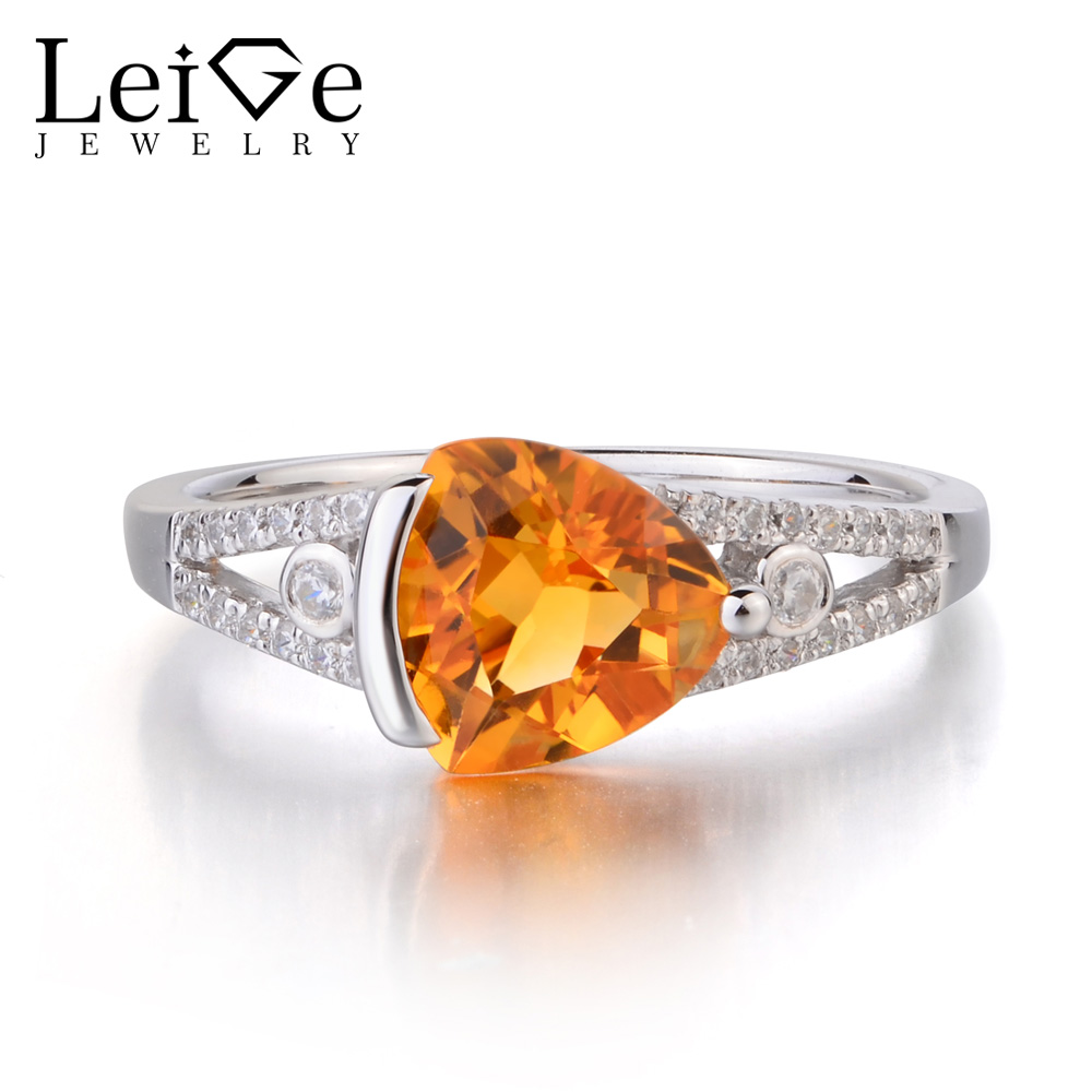Leige Jewelry Real Natural Citrine Solid 925 Sterling Silver Ring Yellow Gemstone Trillion Cut Engagement Rings for WomenLeige Jewelry Real Natural Citrine Solid 925 Sterling Silver Ring Yellow Gemstone Trillion Cut Engagement Rings for Women