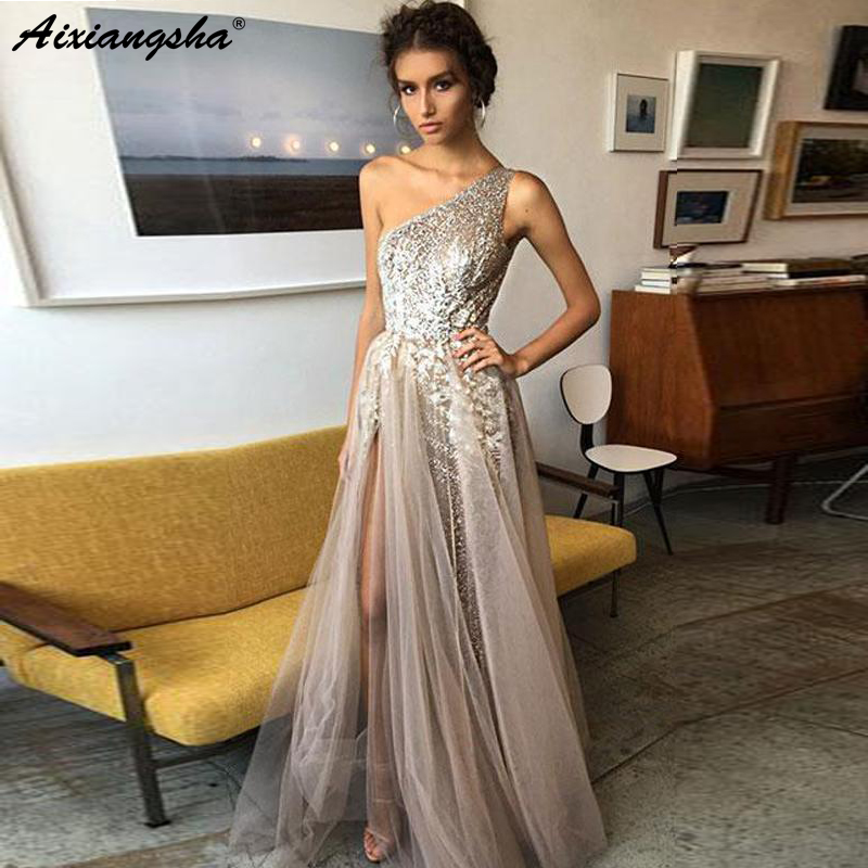 A-Line One Shoulder Sexy vestidos de gala Graduation Evening Party Gown Side Slit Tulle Sparkly Sequin   Prom     Dresses   Long