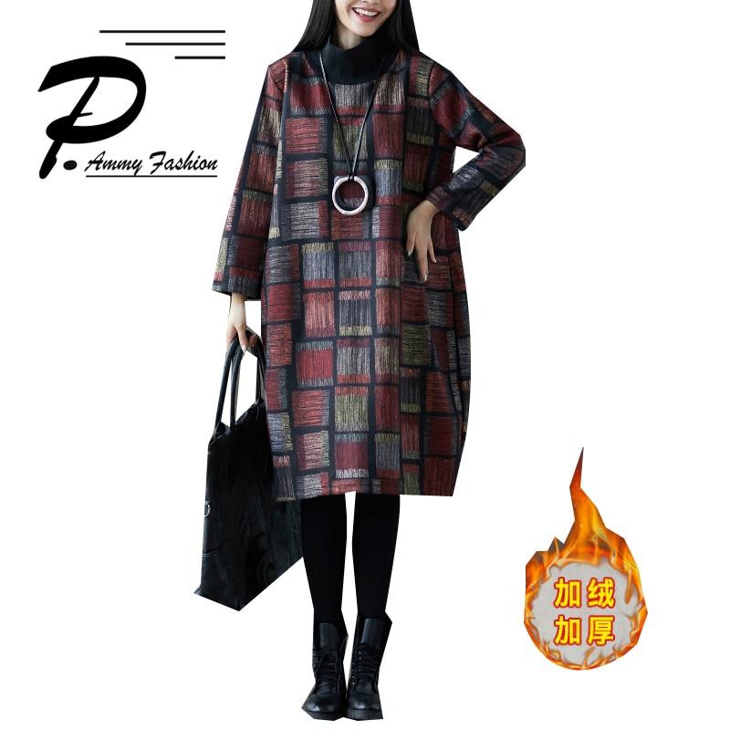 New plus velvet thick large size plaid woolen long sleeved winter dress 2018 Women Turtleneck Mid Long Tunic Dress Pullover