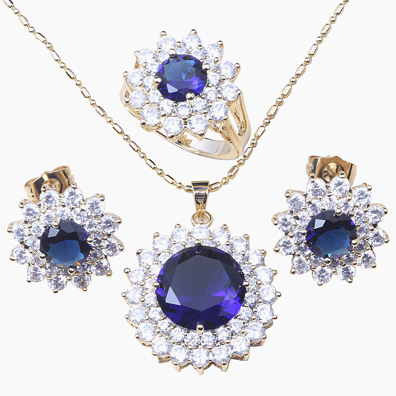 60f91821ca1c0 US $11.99 |Aliexpress.com : Buy Free Shipping Classy Blue Cubic Zircon Gold  Colour Earrings Ring Necklace Pendant Sets T043 from Reliable necklace ...
