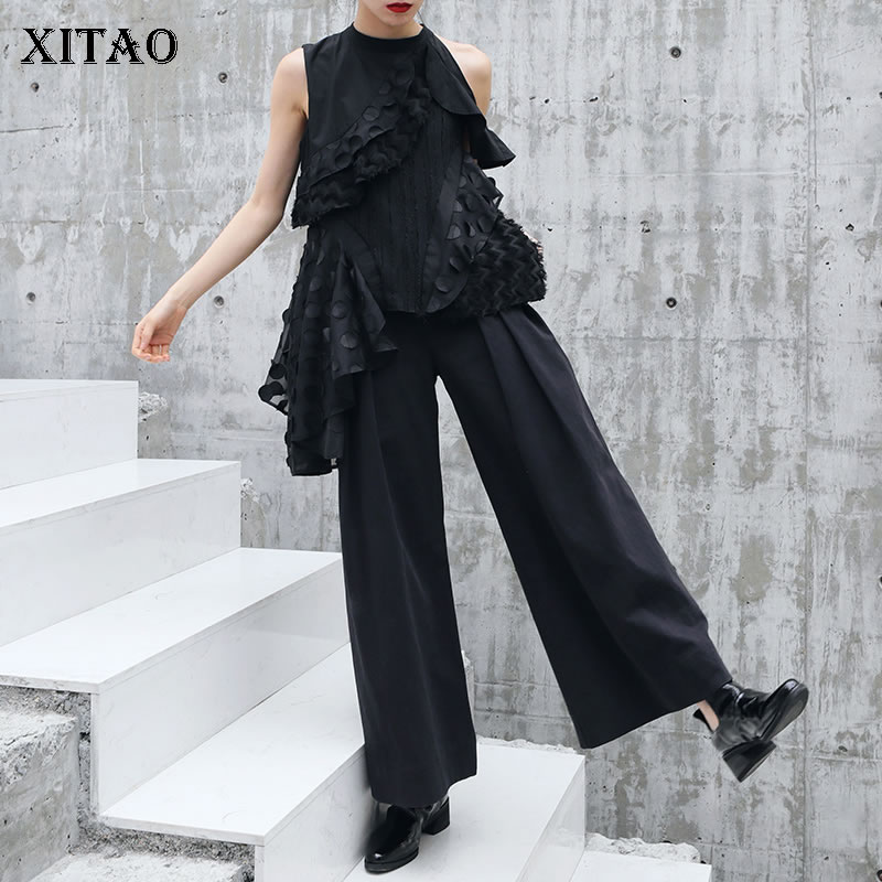 [XITAO] Spring Summer Women 2019 New Arrival Korea Street Fashion Solid Color Elastic Waist Match All   Wide     Leg     Pants   WBB3003
