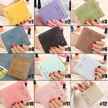Cute New Solid Vintage Matte Fashion PU Leather Women Wallet Small Slim Short Female Purse 88 88 LBY2017