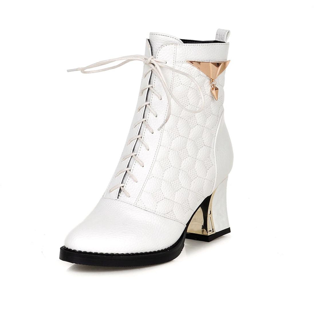 b4ba71ed873c8 Karinluna Con Cuadrados plata Caliente Venta 48 Tallas Cordones Metal Mujer  De Botas Decoración Negro Zapatos Tacones Altos blanco 34 Tobillo Para  Grandes ...