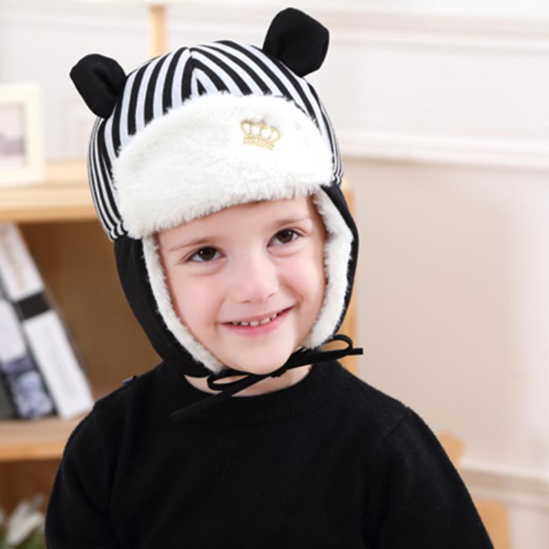 Autumn Winter Baby Hat Bonnet Kids Children Striped Crown Beanies Cap Infant Baby Boys Girls Warm Hats Cute Ear Protection Caps