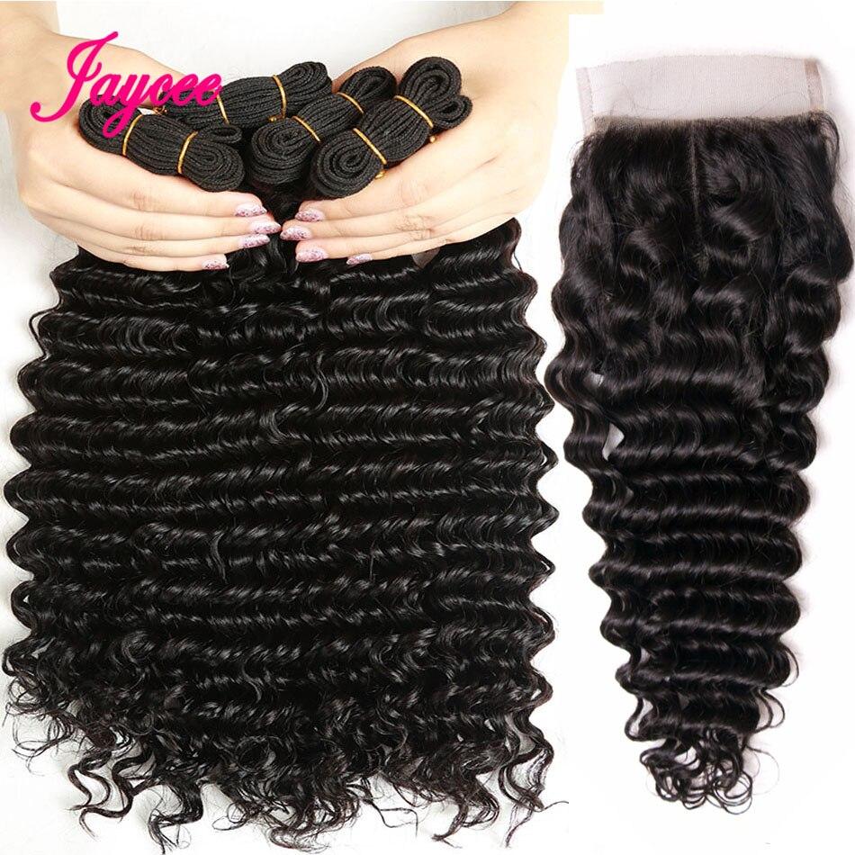 Brazilian Deep Wave Bundles With Closure Human Hair Bundles With Closure Jaycee Hair Extension 3 Bundles With Closure Non remy