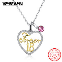 Fashion Forever 18 Gold Letter Heart Pendant Necklaces 925 Sterling Silver Pink Austria Crystal Love Women Chain Necklace Gifts