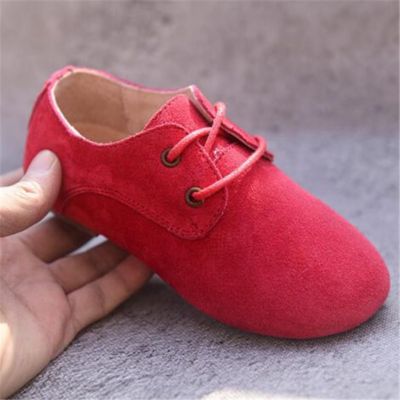 NEW Genuine Leather Shoes Boys Girls Flats Lace-Up Casual Child Shoes Kids Cowhide Sneakers Student Dress Shoes Baby 019