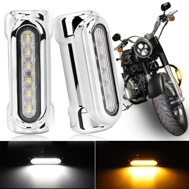 Motorcycle Highway Bar Lights Switchback Driving Lights 1-1/4 inch Crash Bar LED Turn Signal Lights with DRL for Harley Motors