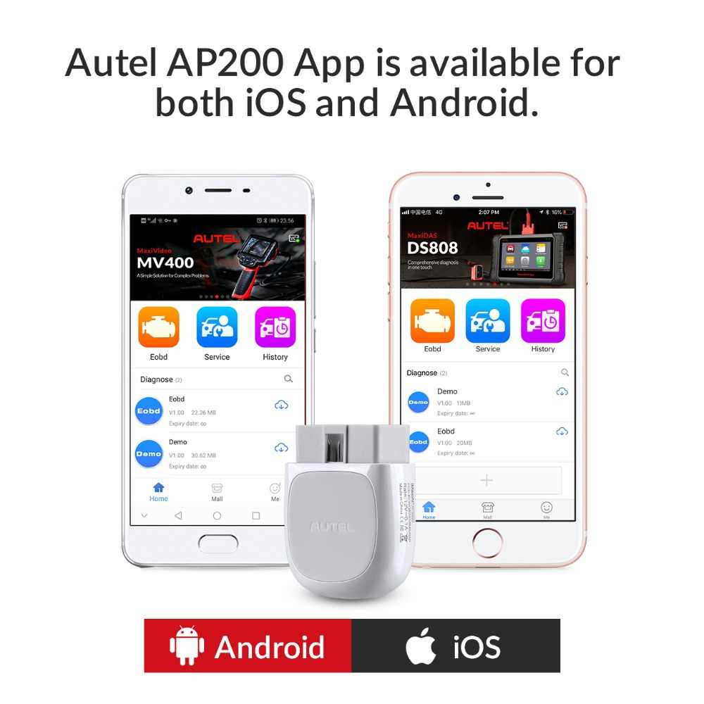 Autel AP200 Bluetooth Car Diagnostic Tool All System OBD2 Automotive  Scanner Auto DIY Code Reader Scan Tools PK EasyDiag MK808