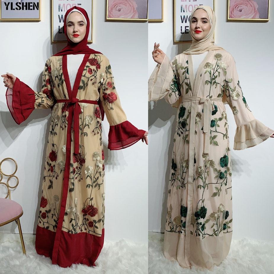 Muslim Dress Lace Embroidery Chiffon Abaya Dubai Turkish Women Maxi Dresses Robe Hijab Kaftan Islamic Turkey Islamic Clothing