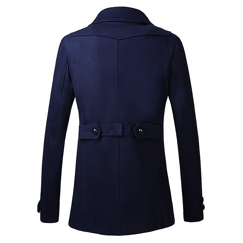 Fashion Blue Black Color Lapel Long Peacoat Style Jacket Mens ...
