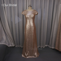Badgley Mischka Sequin Cowl Back Bridesmaid Dresses Sheath Champagne Rose Gold Wedding Maid Of Honor Factory