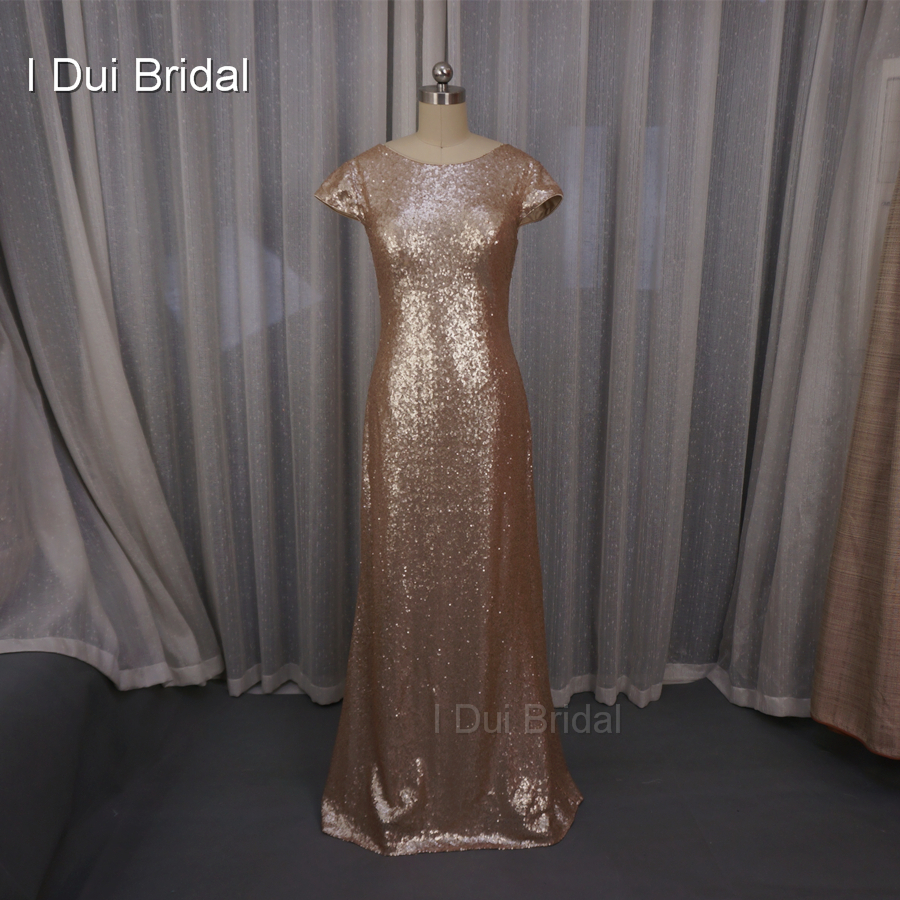 Badgley Mischka Sequin Cowl Kembali Bridesmaid Dresses sarung Champagne Rose Gold Wedding Maid of Honor