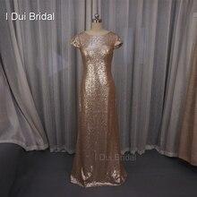Badgley Mischka Sequin Cowl Back Bridesmaid Dresses Sheath Champagne Rose Gold Wedding Maid of Honor