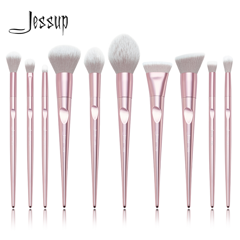 New arrival Jessup brushes 10pcs Pink Makeup brushes sets Make up brush Cosmetic beauty blush Powder Foundation Dome Pencil new large wavy dome shaped make up powder brush 130 a classic soft bristle brush loose and compact powders makeup brushes