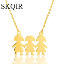 SKQIR Cute Three Figure Shape Pendant Necklaces Fashion Girls Best Friends Men Jewelry Elegant Long Sweater Chain Necklaces